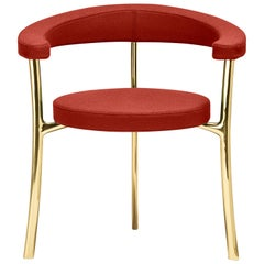 Katana Armchair in Red Fabric with Polished Brass by Paolo Rizzatto