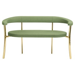 Katana Bench in Green Fabric with Polished Brass by Paolo Rizzatto