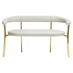 Katana Bench in Grey Fabric with Polished Brass by Paolo Rizzatto