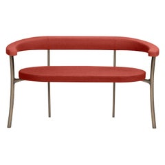 Katana Bench in Red Fabric with Brown Burnished Brass by Paolo Rizzatto
