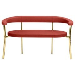 Katana Bench in Red Fabric with Polished Brass by Paolo Rizzatto