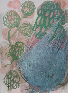 Garden 1 - Modern Figurative Oil Flowers Painting  - Large Format, Nature, Plant
