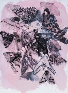 Skin IV - Contemporary Expressive Figurative Oil Painting, Butterflies, Lightnes