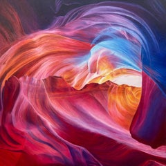 Colourful Red Blue Contemporary Abstract Painting of Inside Grand Canyon Arizona