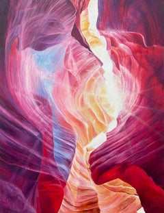 Red Blue & Purple Abstract Painting of the Grand Canyon by Contemporary Artist