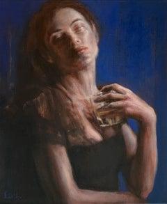A glass - Contemporary Figurative Oil Painting, Subtle Female Portrait, Vibrant