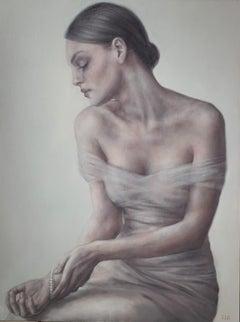 Pearl bracelet - Figurative Oil Painting, Subtle Female Portrait, Monochromatic