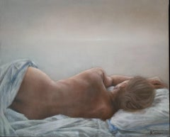 Siesta - Contemporary Figurative Oil Painting, Subtle Female Nude, Muted colors