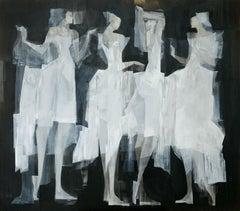 Conversation - Contemporary Oil Painting, Black white & silver, Figurative