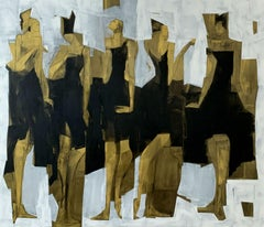 Muses - Contemporary Oil Painting, Black gold & white, Figurative, Big format