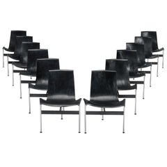 Katavolos, Kelly and Littell Set of 12 Dining Chairs '3LC' in Black Leather
