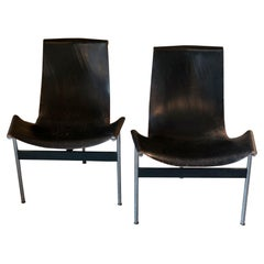Katavolos, Kelly and Littell Set of 2 Chairs '3LC' in Black Leather, USA, 1952