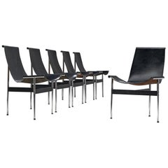 Katavolos, Kelly and Littell Set of Six T-Chairs in Black Leather