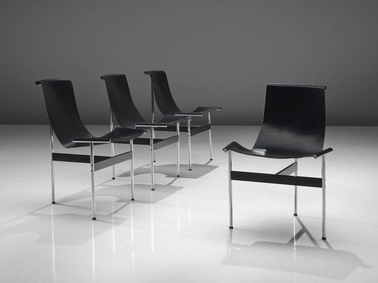 American Katavolos Kelly and Littell T-Chairs in Original Black Leather For Sale