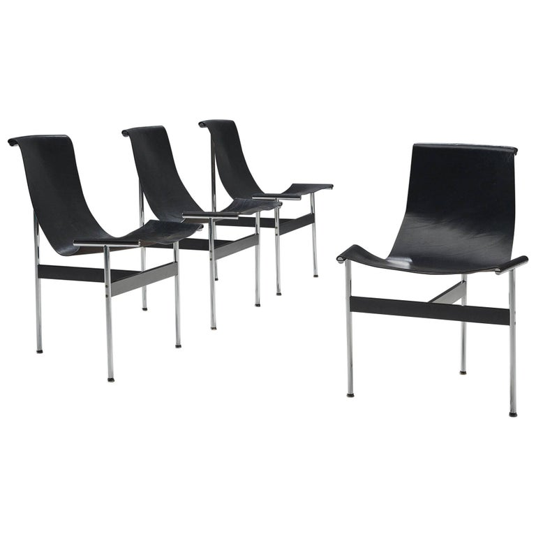 Katavolos Kelly and Littell T-Chairs in Original Black Leather For Sale