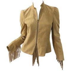 Katayone Adeli 1990s Tan Nubuck Leather Size 4 Fringe Vintage 90s Jacket