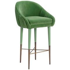 Kate Bar Chair in Velvet and Brass