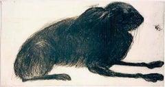Kate Boxer, Hare, Contemporary Drypoint Print, Animal Art, Still Life Print
