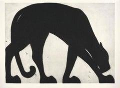 Black Panther, Kate Boxer, Contemporary Drypoint Print, Animal Art, Monotone Art