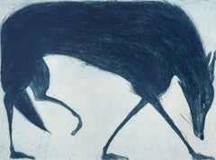 Blue Wolf, Kate Boxer, Blue Art, Contemporary Drypoint Prints, Animal Print