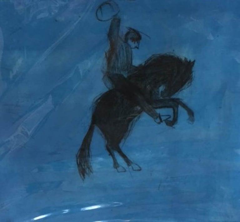 Bucking Bronco, KATE BOXER, LimitedEdition Drypoint Print, Animal Art, Horse Art - Gray Animal Print by Kate Boxer