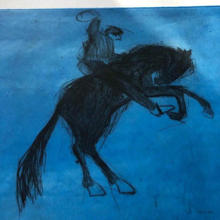 Bucking Bronco, KATE BOXER, LimitedEdition Drypoint Print, Animal Art, Horse Art For Sale 5