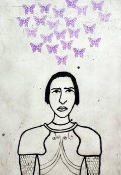 Jeanne d'Arc II, Kate Boxer, Historic Art, Drypoint Print, Contemporary Art