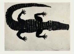 Kate Boxer, Alligator, Animal Art, Monochromatic Art, Minimalist Art, Reptile