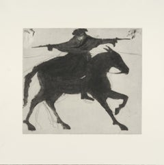 Kate Boxer, Dick Turpin On His Way To York, Contemporary Drypoint Print