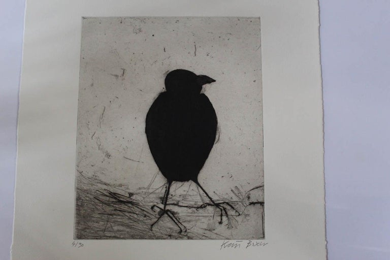Kate Boxer Jackdaw Limited Edition Drypoint Print Edition of 30 Sold Unframed Size: H 30.5cm x W 25.4cm x D 0.03cm Please note that in situ images are purely an indication of how a piece may look.  Jackdaw is a limited edition drypoint print by Kate