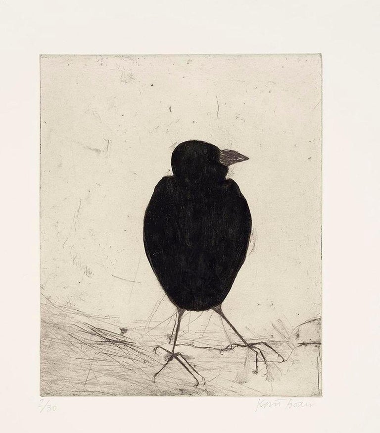 Kate Boxer, Jackdaw, Limited Edition Drypoint Print, Animal Art - Beige Animal Print by Kate Boxer