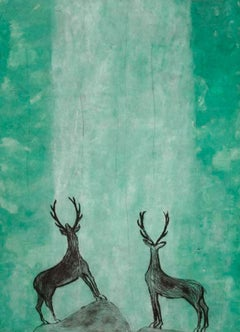 Kate Boxer, Stags Admiring an Emerald Waterfall, Contemporary Art, Animal Art