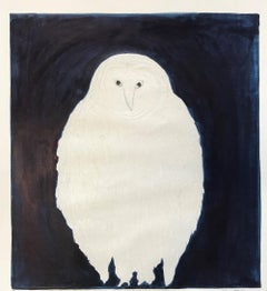 Night Owl, Kate Boxer, Contemporary Drypoint Print, Animal Art
