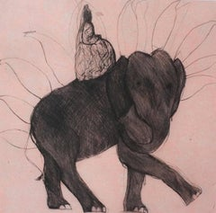 Queen Victoria and Elephant, Pink Print