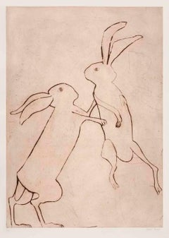 Two Boxing Hares in Spring, Light Brown Drypoint Print