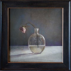 Single Rose, Round Glass Bottle
