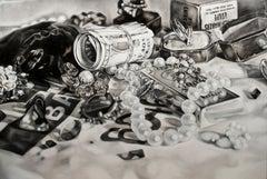 The Thief - Kate Brinkworth, photorealist, dice, casino, black and white, art