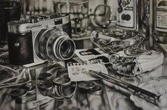 The Watcher - Kate Brinkworth, photorealist, dice, casino, black and white, art