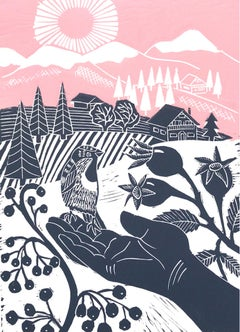 Kate Heiss, Little Sparrow, Limited Edition Linocut Print, Affordable Art