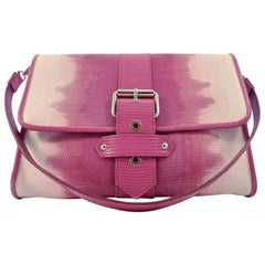 Kate Moss for Longchamp Leather Snake Effect Pink and White Clutch / Handbag