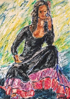 Flamenco Dress, Surrealist Impressionist Oil Painting, Signed