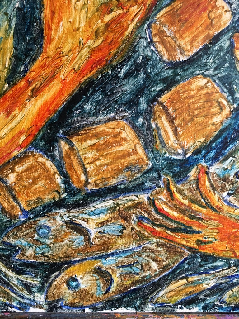 Waves of Fish No.2, Surrealist Abstract Oil Painting, Signed For Sale 5
