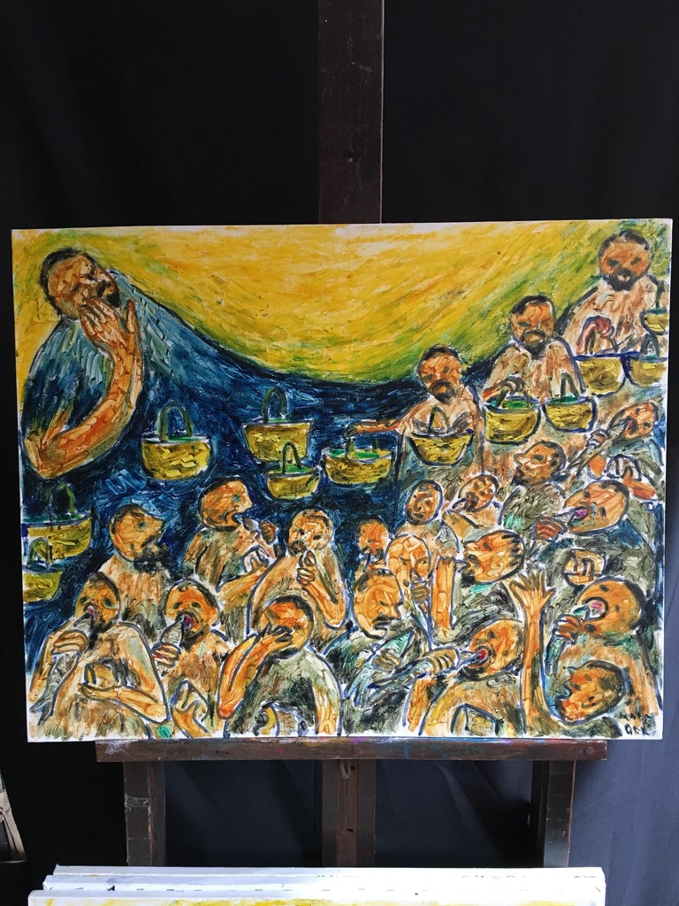 Waves of Fish No.3, Surrealist Abstract Oil Painting, Signed For Sale 5