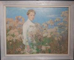 Girl among cotton flowers    Oil   cm. 80 x 65  1910 ca