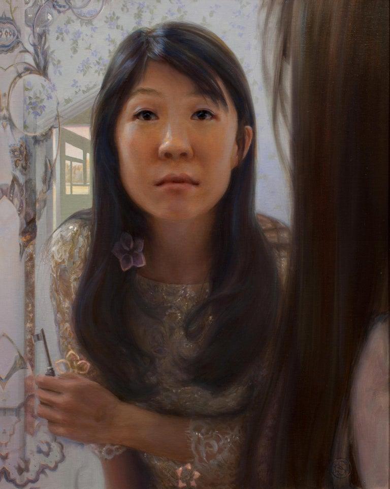 Kate Sammons Portrait Painting - Self Portrait in Mirror