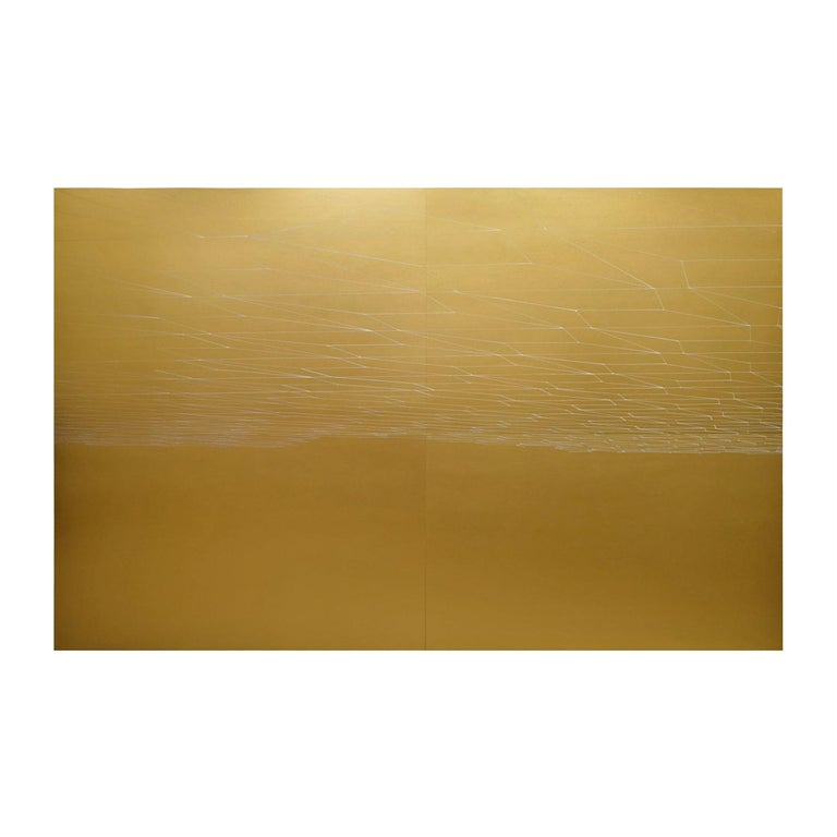 """Kate Shepherd """"Gold Double Sun Set"""" Large Painting on Wood Panels 2007 'Signed' For Sale"""