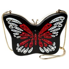 Kate Spade Multicolor Crystal Embellished Wing It Butterfly Chain Clutch