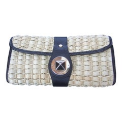 Kate Spade New York Woven Raffia Leather Trim Clutch c 21st C