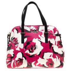 Kate Spade Tri Color Floral Print Leather Cedar Street Maise Satchel