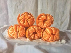 Kate Verrion, Five Satsumas, Still Life Painting, Realist Fruit Painting